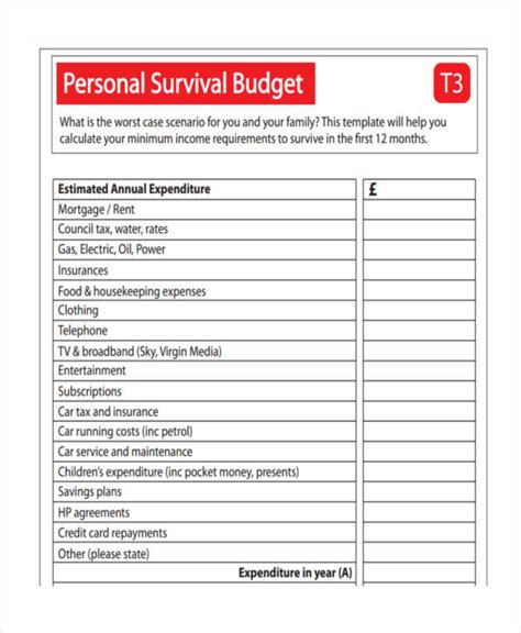14 personal budget exles sles