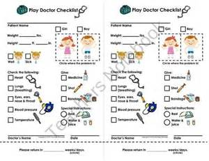 play doctor checklist amp appointment cards imaginary dramatic play product courtney