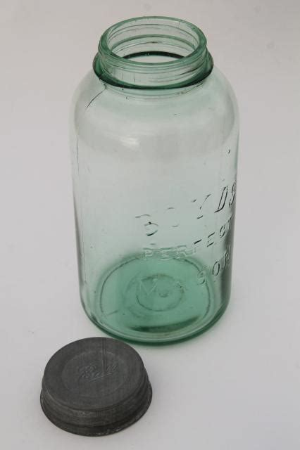 antique green glass big  quart canning jar boyds