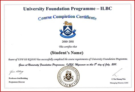 certificate template blue training agency course