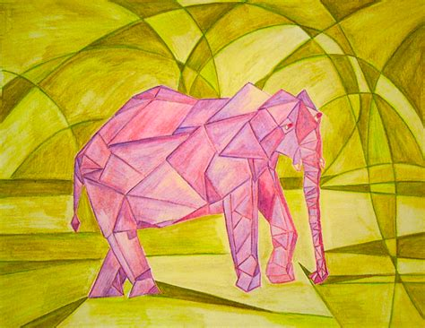easy cubism paintings an elephant a day elephant no 262 cubism