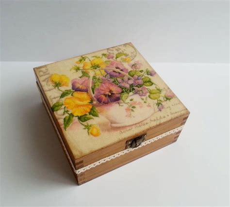 Decoupage Box - made on order decoupage wooden tea box sping flowers with