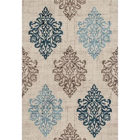 home world rugs world rug gallery transitional damask high quality soft blue 3 ft 3 in x 5 ft area rug 800