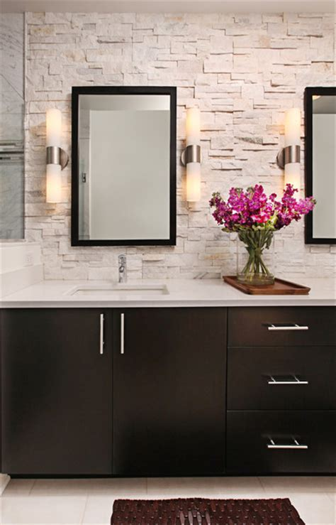 stone backsplash bathroom rough hewn stone backsplash in modern master bath modern