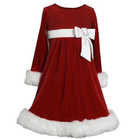 ebay xmas dresses bonnie jean girls side bow glitter velvet santa christmas