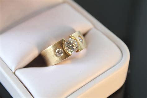 14k yellow gold wide band engagement rings with clear