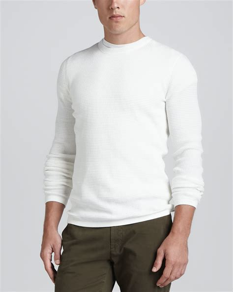 White Sweater lyst vince sleeve thermal sweater white in white