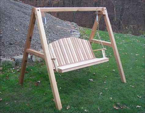 porch swing with stand red cedar blue mountain fanback porch swing w stand