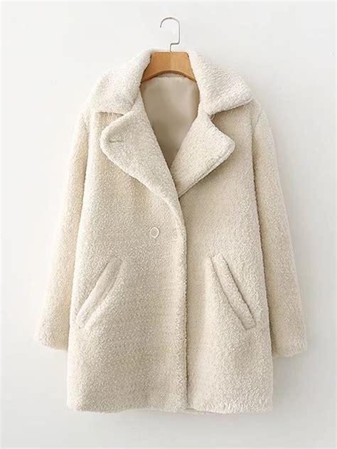 Breasted Faux Fur Coat faux fur breasted coat shein sheinside