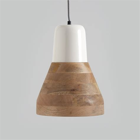 Pendant Light Wood Reykjav K White And Wood Pendant Light