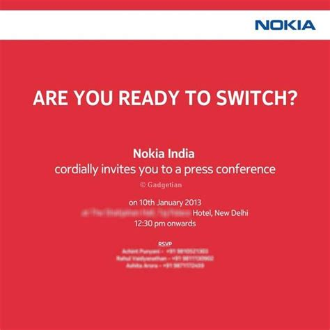 Press Conference Invitation Letter To Media Nokia Lumia 920 820 Launch January 10 In India Sends Invite Gadgetian