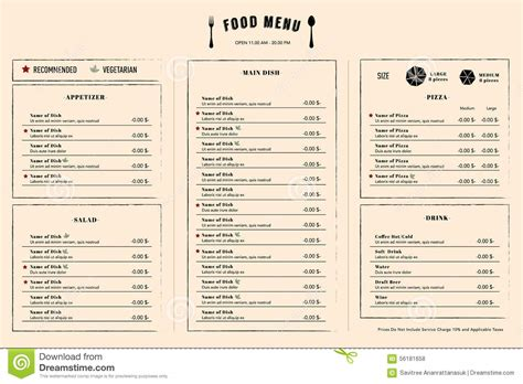 layout per menu ristorante restaurant menu design template layout with logo stock