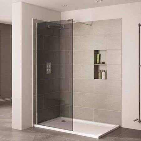 Smoked Glass Shower Doors April Prestige 1400mm Smoked Glass Wetroom Panel