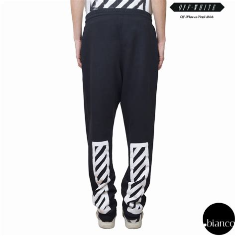 Offwhite Jogger 1 white brushed diagonals cotton jogger buyma