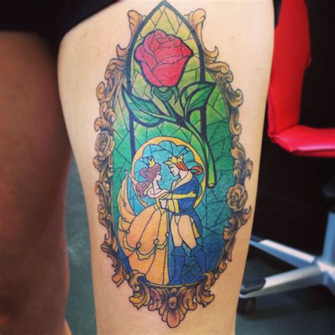 stained glass rose tattoo and the beast inkspiration