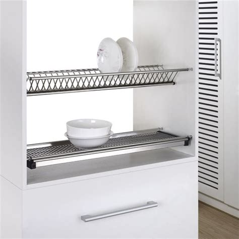 Wall Dish Drying Rack 2 tiers kitchen hanging stainless steel wall mounted dish