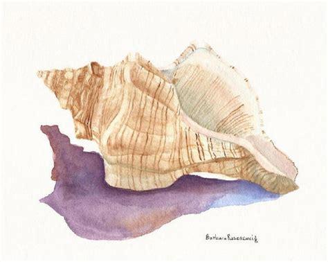 Seashore Home Decor seashell painting conch shell art print shell watercolor