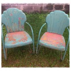 retro metal patio furniture pair of vintage 50 s metal lawn chairs w great patina