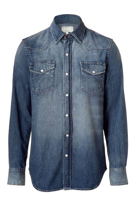 Denim Washed Shirt lyst current elliott the western blue washed denim shirt