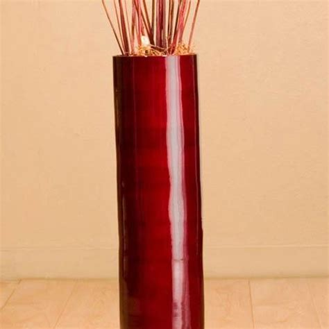 Cylinder Floor Vase by Decorative Vases 26 Quot Mahogany Bamboo Cylinder Floor