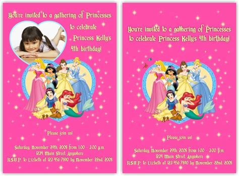 princess birthday card template disney princess birthday invitations template best