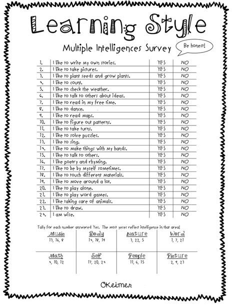 printable learning styles questionnaire the 25 best learning style quiz ideas on pinterest