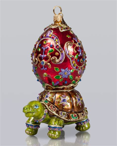 jay strongwater turtle with eggshell christmas ornament