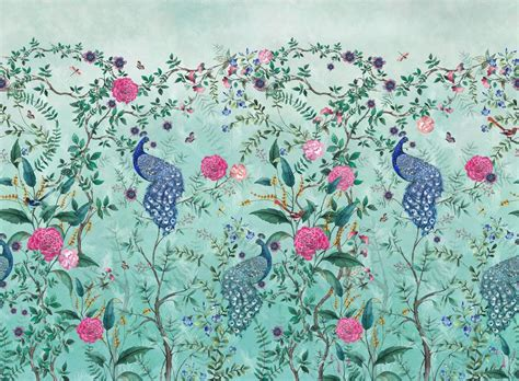 chinoiserie spring green high quality wallpaper
