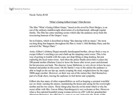 Gilbert Grape Essay by Quot What S Gilbert Grape Quot Review Gcse Miscellaneous Marked By Teachers