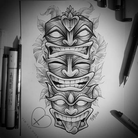tiki tattoo designs tiki totem illustration for tim horn gel
