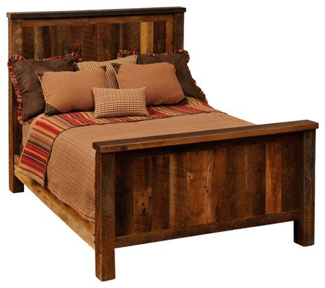 rustic full size bed fireside lodge traditional reclaimed barnwood bed full