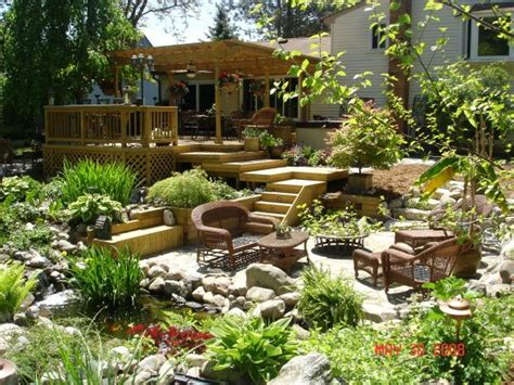backyard paradise amazing outdoor patio deck with water features and
