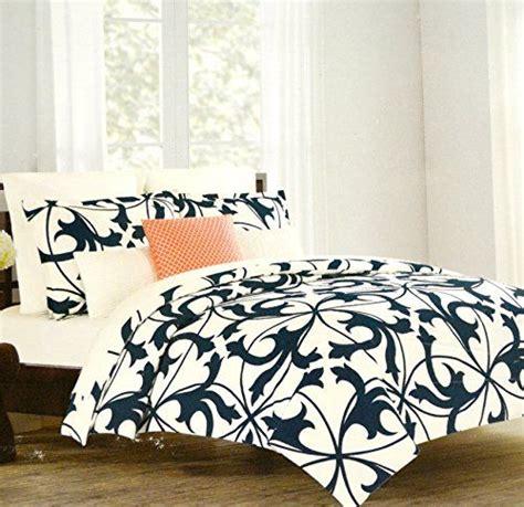 navy and cream bedding tahari home luxury cotton sateen duvet quilt cover 3 piece