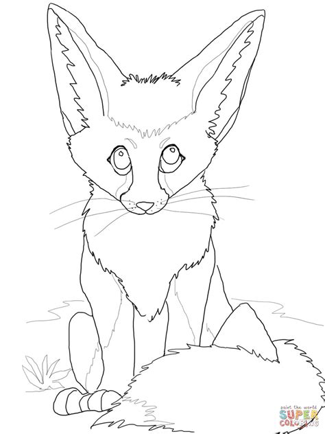 coloring pages fennec fox cute fennec fox coloring page free printable coloring pages