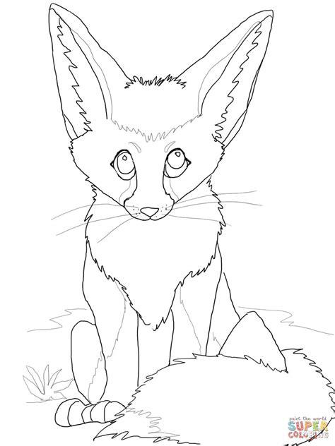 cute fennec fox coloring online super coloring