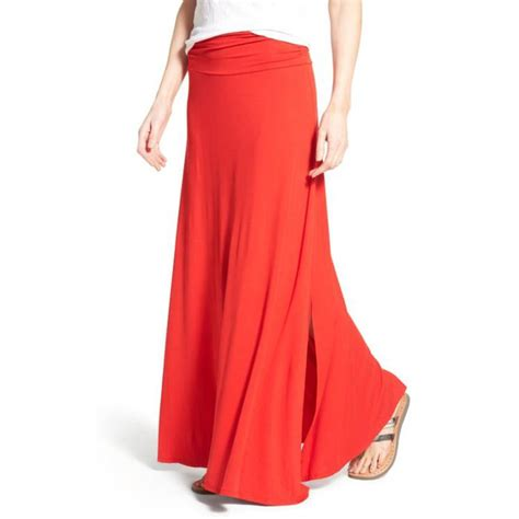 bobeau ruched waist side slit maxi skirt rank style
