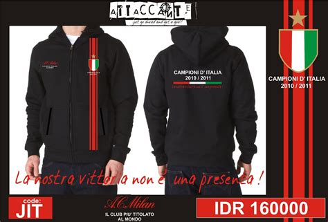 Jaket Hoodie Ac Milan Logo attaccante cloth merch ready stock product