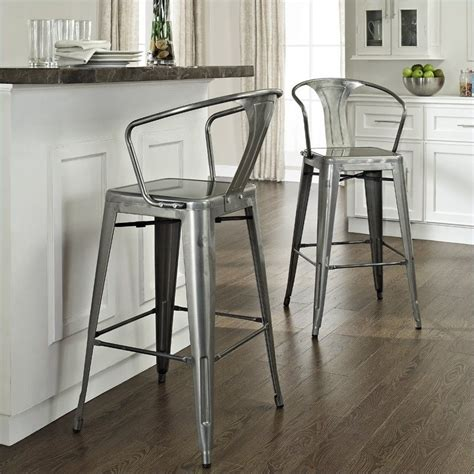 metal kitchen bar stools crosley furniture amelia 30 quot metal bar stool in galvanized