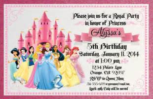 princess birthday card template free disney princess invitation cards template