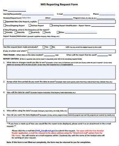 Report Request Template Sample Report Request Form 8 Examples In Word Pdf