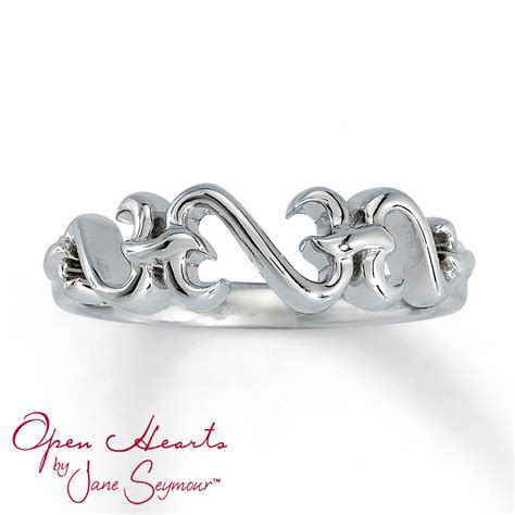 jewelers open ring open hearts ring sterling silver