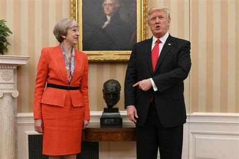 trump reinstalls churchill bust obama removed donald trump thanked by theresa may as winston churchill
