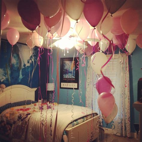 party in my bedroom decorated room with balloons on 16th birthday