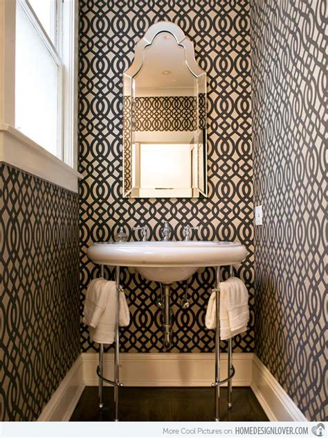 designer bathroom wallpaper black and white wallpaper in 15 bathrooms and powder rooms home design lover