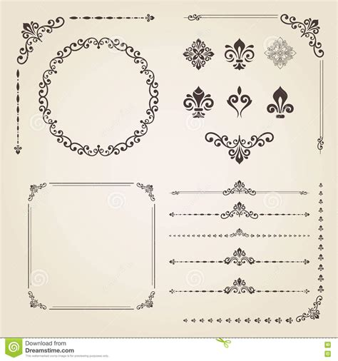vintage menu design elements vector set vintage set of elements stock vector image of color