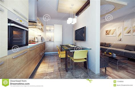 modern kitchen interior 3d rendering modern kitchen interior 3d render royalty free stock image