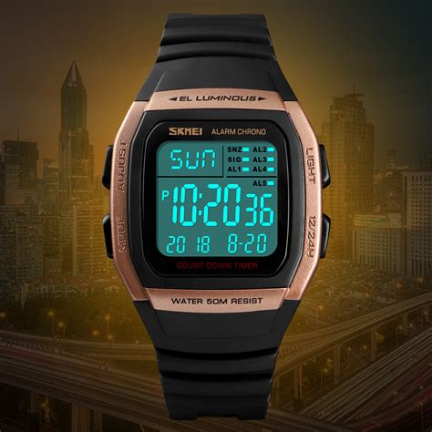 skmei jam tangan digital pria  titanium gray