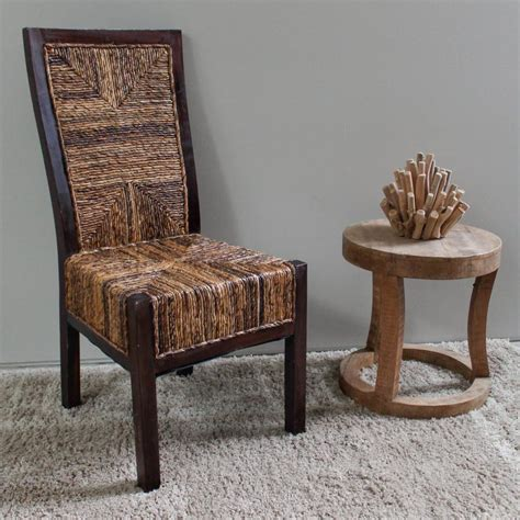 Weave Dining Chairs Dallas Salak Brown Abaca Weave Dining Chairs With Mahogany Hardwood Trim And Frame Set Of 2 Sg