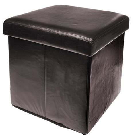 leather ottoman storage box brown colour leather fold flat ottoman storage box