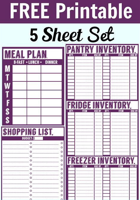 printable meal planning sheets free 5 sheet printable set menu planner shopping list